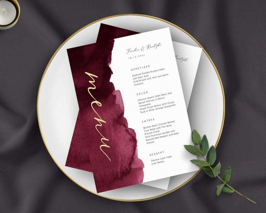 Wedding - Wedding Menu Template - Printable Burgundy Wedding Menu Download, Modern Wedding Menu, Printable Wedding Menu,  OM-033, Menu Template Card
