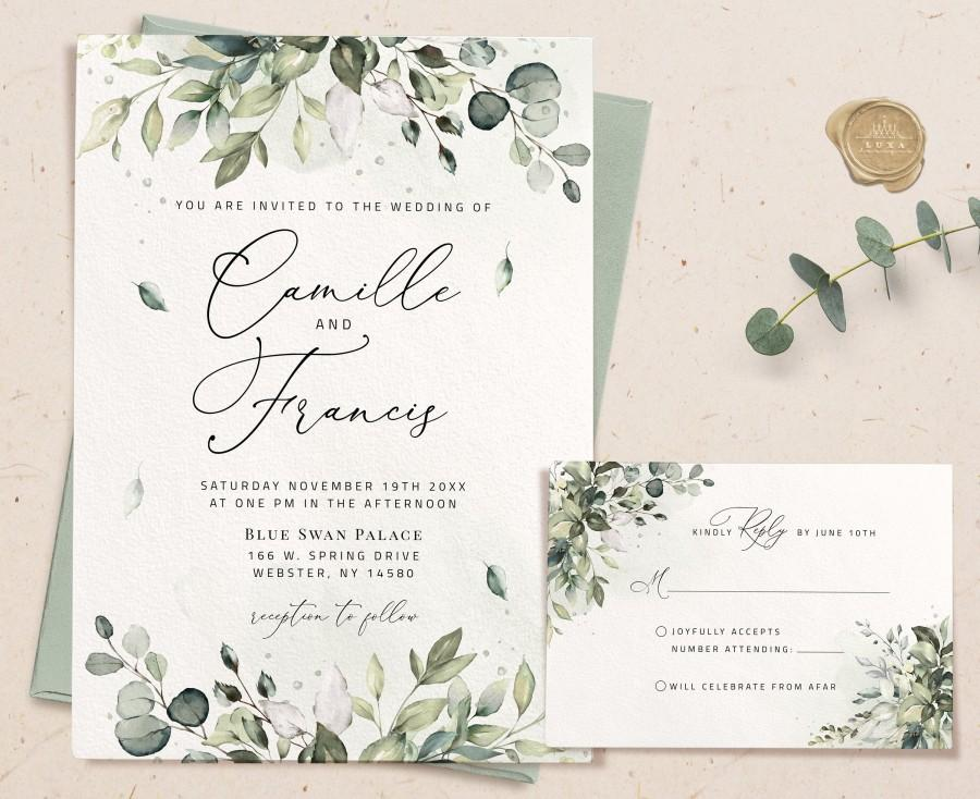 Wedding - Greenery Invitation Template, Editable Greenery Invite, Wedding Invitation Template Download, White Greenery Wedding, Invite with rsvp, ARIA