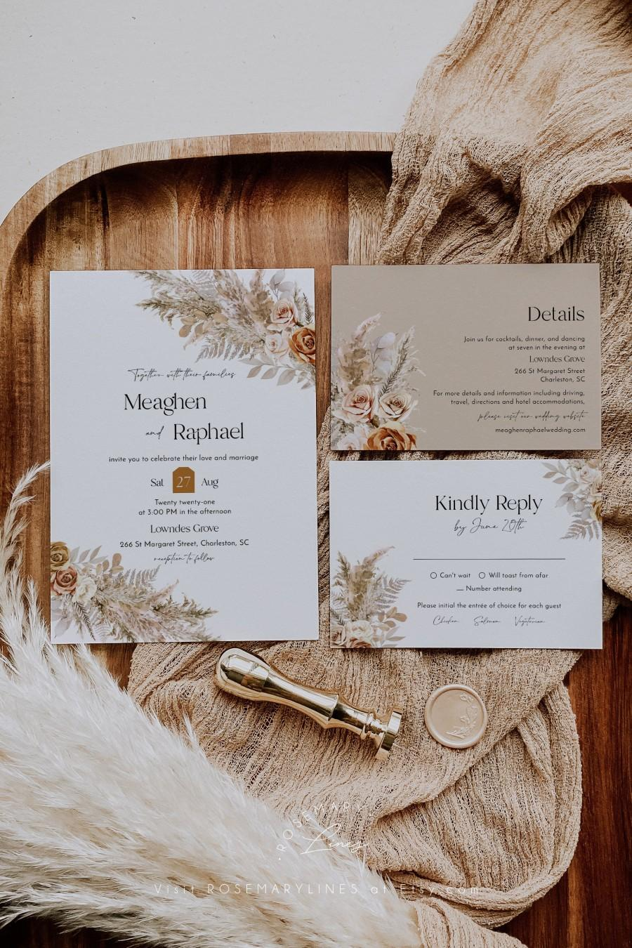 Wedding - Muted floral pampas grass wedding invitation template, dusty orange toffee roses wedding invitation suite, neutral earth tones desert #143-5