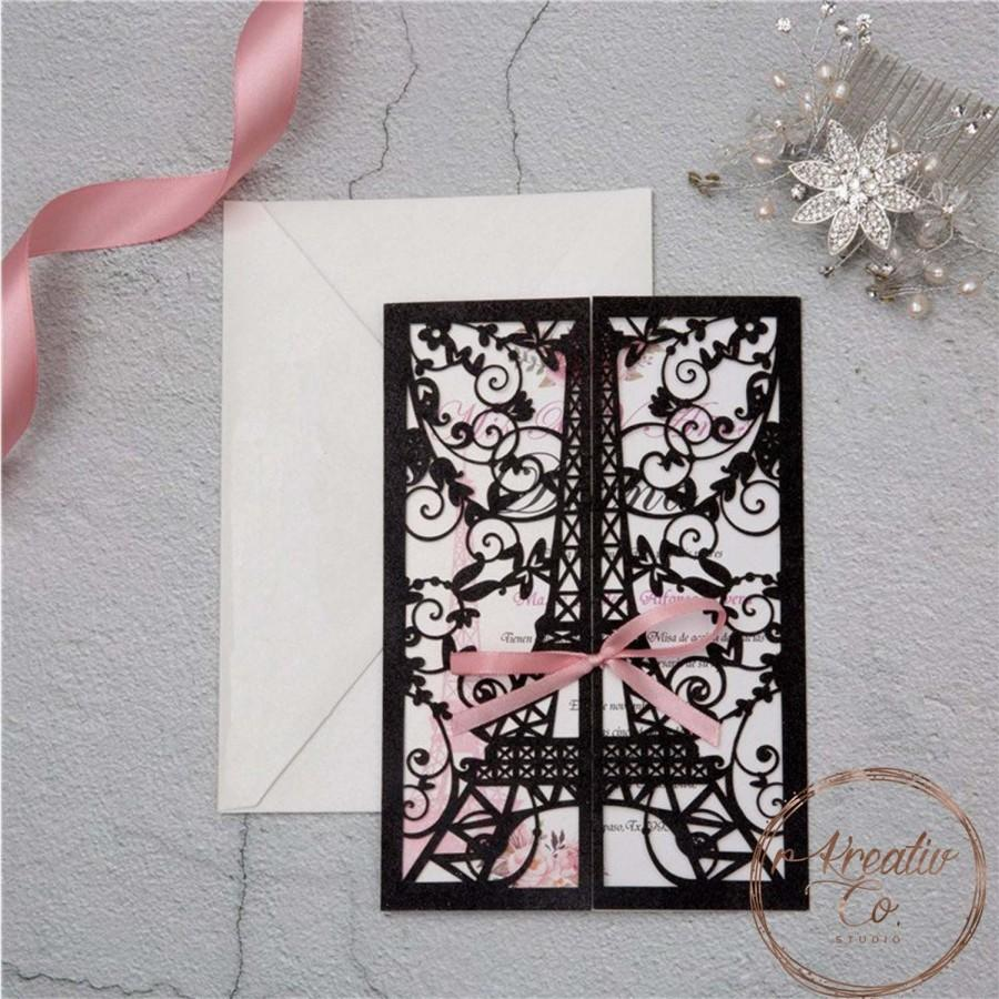 Wedding - Eiffel Tower Paris Laser Cut Invitation, Lace Laser cut, Quinceanera Invitation, Bridal Shower, Baby Shower, Sweet sixteen