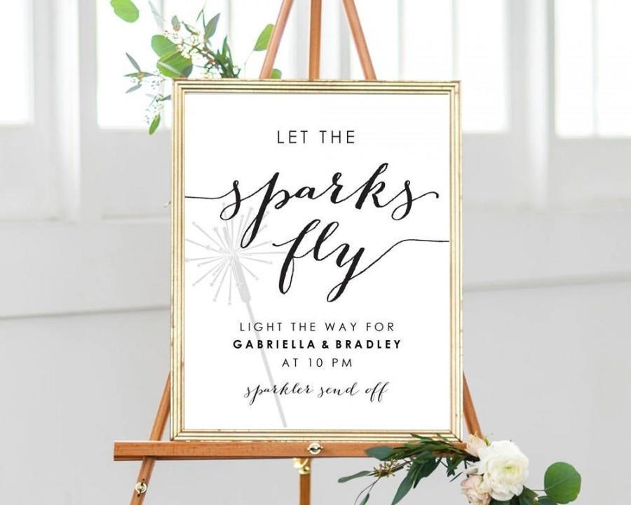 Wedding - Let The Sparks Fly Sparkler Send Off Sign, 8x10 DIY Sign, Instant Download, Wedding Reception Sign, Editable Printable Wedding Sign