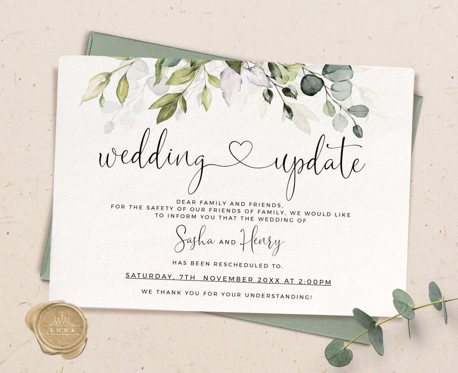 Wedding - Greenery Wedding postponement, Greenery postponed Wedding, Change of Plans, Save the new date, Wedding update, change the date card, MYRA