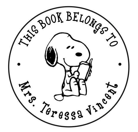 Wedding - This Book Belongs to / Name Round Designer Snoopy Logo Custom Self ink Stamp Custom Teacher Stamp