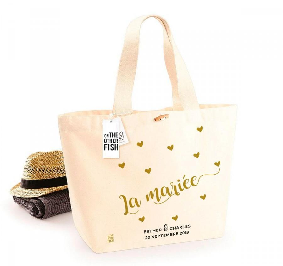 Mariage - Bag for bride or groom, a love gift for a wedding or an EVJF, custom beach bag for a witness gift