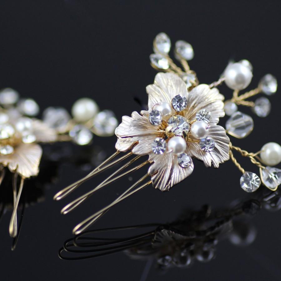 زفاف - Set of TWO Hair Combs,  Champagne Gold or Silver Bridal Comb, Hibiscus Hair Comb, Bridal Accessories, BIANCA CG 2
