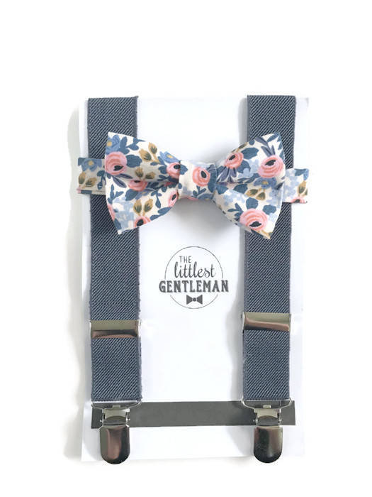 Hochzeit - boys floral bow tie and suspenders set , baby boy navy suspenders, suspenders, ring bearer outfit, page boy, braces, boys wedding bow tie