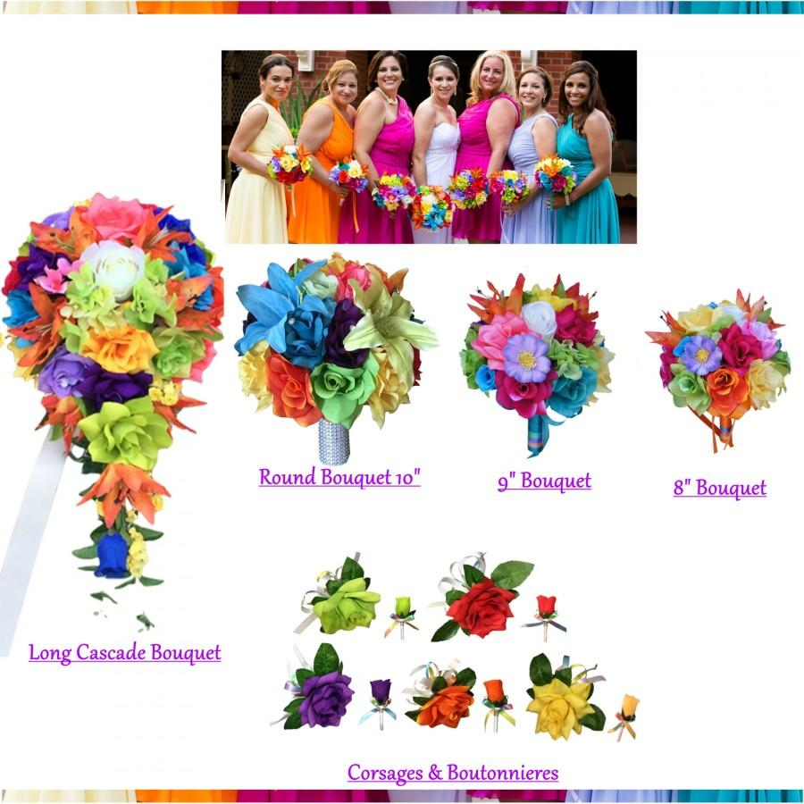 Hochzeit - Rainbow colorful keepsake wedding flowers - build your wedding package bouquet corsage boutonniere red purple green yellow green