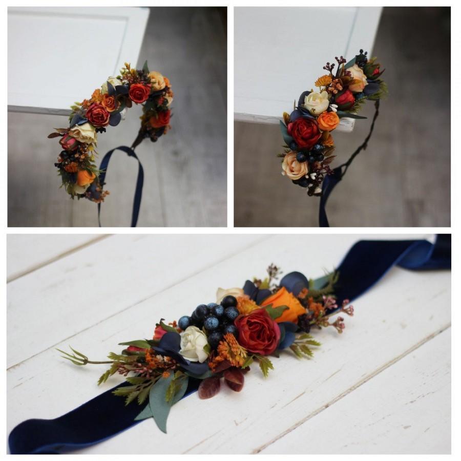Hochzeit - Orange navy blue flower crown Fall wedding  Floral headpiece Bridal headband Flower girl crown