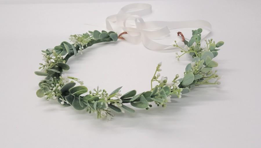 Wedding - Flower Crown-Flower Girl Flower Crown-Baby's Breath and Eucalyptus Flower Crown-Bridal Flower Crown-Bridesmaid Flower Crown-Fiona Crown