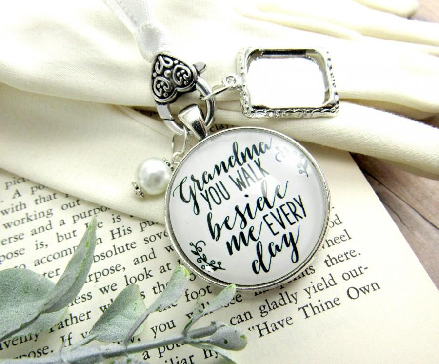 Wedding - Grandmother Wedding Bouquet Charm Grandma You Walk Beside Me Photo Frame Memorial Rustic Remembrance Loving Memory Jewelry Bridal Flowers