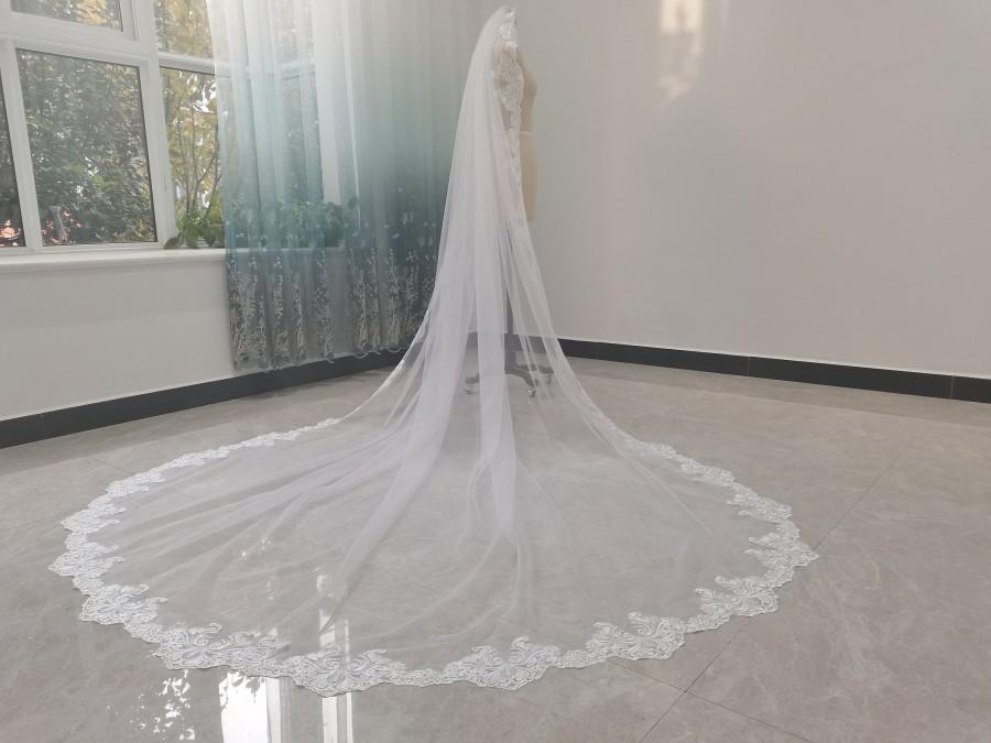 Mariage - White Cathedral Tulle Lace Edge Bridal Veil Ivory One Layer Tulle Full Edge Lace Gorgeous Cathedral Wedding Veil Bridal Hair Jewelry