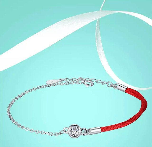 Hochzeit - Lucky Red Thread bracelet-protector Friend/CZ bracelet-925 Sterling Silver Bracelet