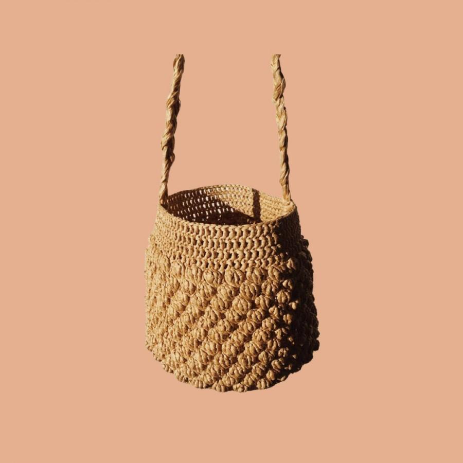 Wedding - Camille Handmade Raffia Basket Bag Bucket Bag