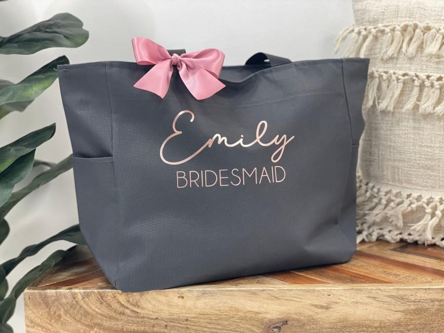 Hochzeit - Bridesmaid Tote Bags, Personalized Bridesmaid Bags, Bridal Party Bridesmaid Gifts, Maid of Honor Tote, Custom Bridesmaid Tote Bags, Tote Bag