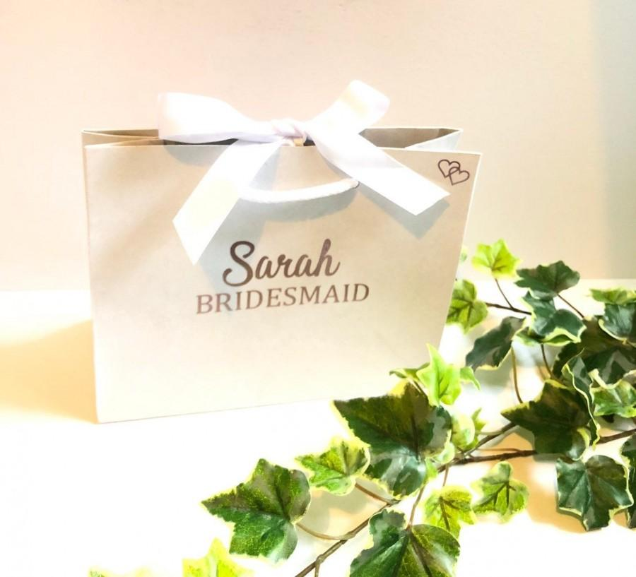 Wedding - Small Bridesmaid Gift Bag, Personalised Bridesmaid Gift Bag, Bridal Party Gift Bags, Rose Gold Gift Bags