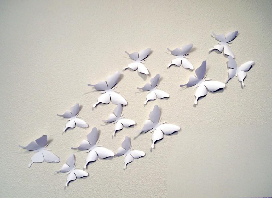 Wedding - 12 White 3D Butterfly Wall Art Circle Burst