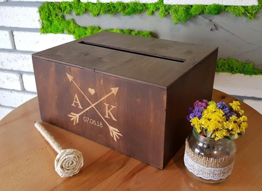 Свадьба - Personalized Wedding Card Box With Slot Wedding Bank Wooden Card Box Wedding Card Holder Wedding Money Box Keepsake Box Wedding Envelope Box