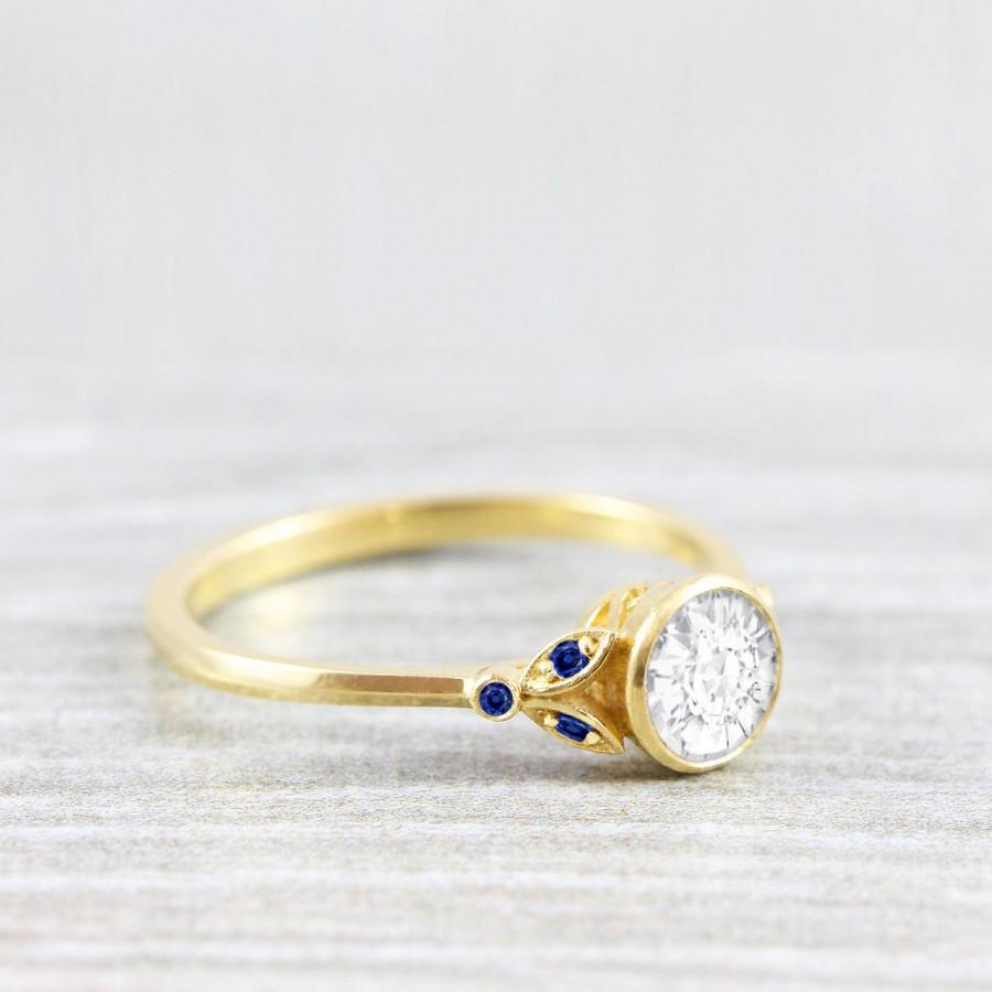 Свадьба - White and blue sapphire round engagement solitaire nature inspired leaf floral ring in gold or platinum handmade for her UK