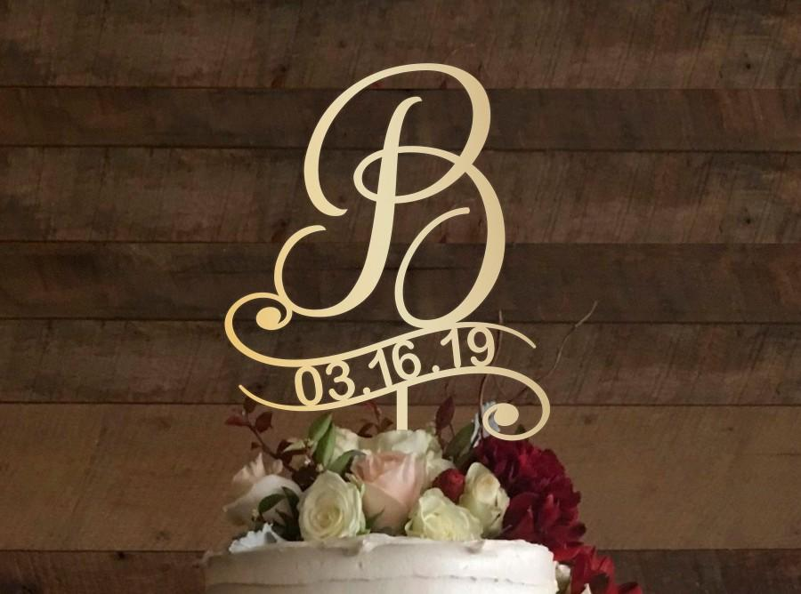 Wedding - b cake topper, wedding cake topper, cake toppers for wedding, rustic cake topper, initial cake topper, monogram cake, cake topper b, #003
