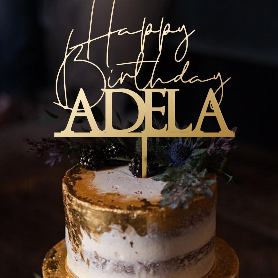 Wedding - Personalized Happy Birthday Cake Topper , Happy birthday Party, Happy birthday, Cake Topper, Happy Birthday Topper,  Birthday Party