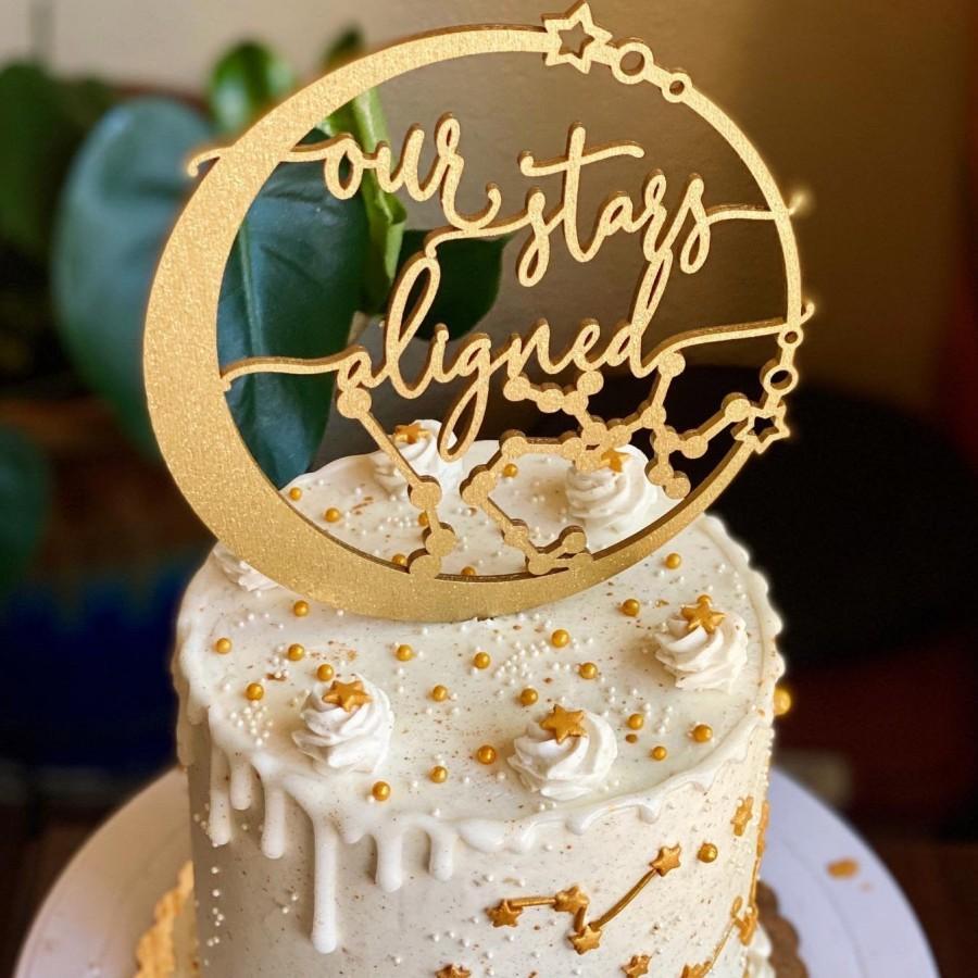 Wedding - Our stars aligned celestial cake topper, Constellation wedding cake topper, Starry night wedding cake topper, Celestial wedding decor