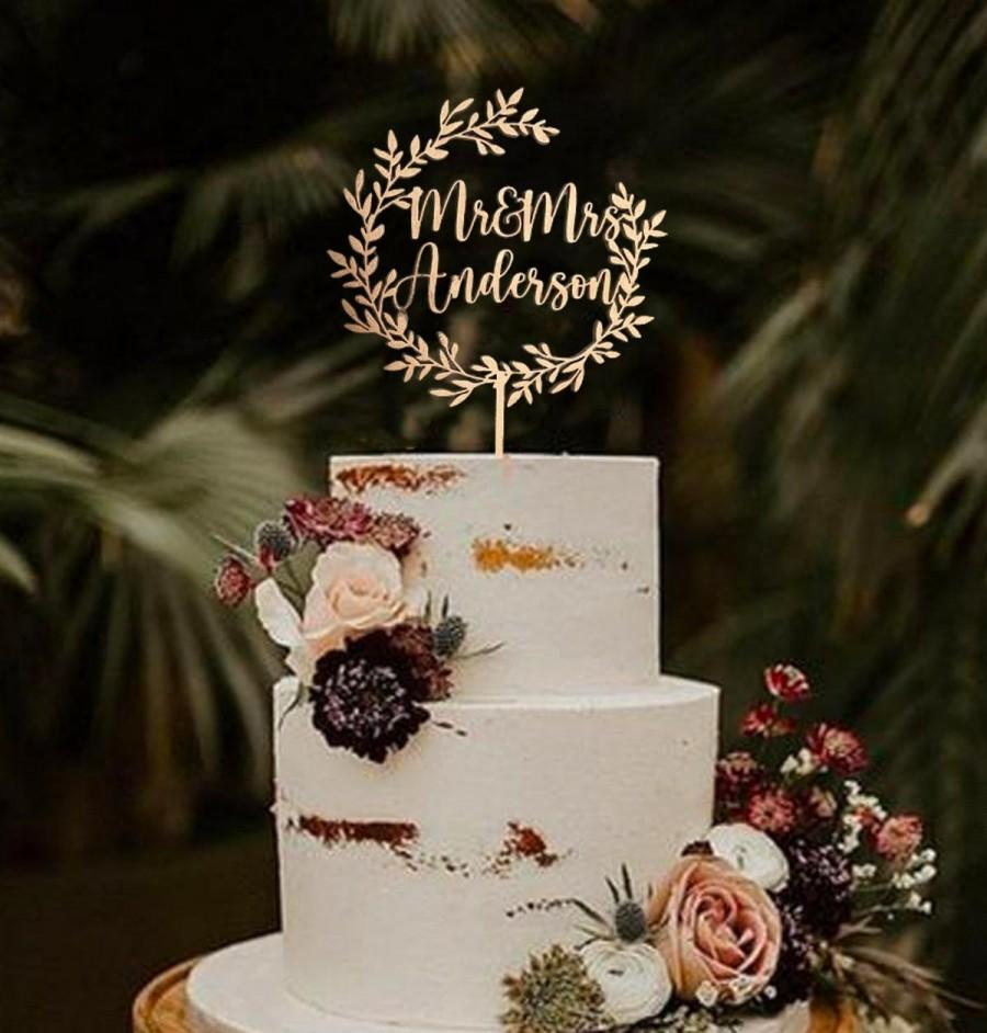 Wedding - Gold Mr and Mrs Cake Toppers  - Wedding Cake Topper - Gold, Silver, Natural Wood or Black - Customize Your Own