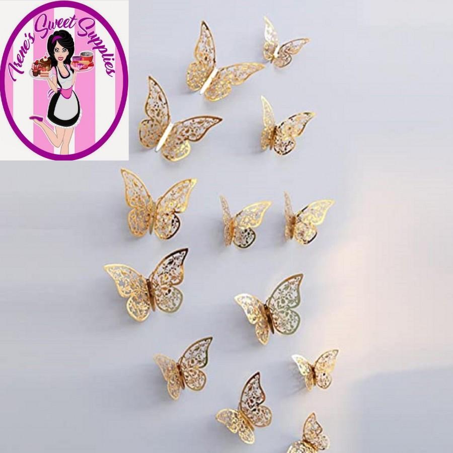 زفاف - 2 styles of Butterflies for decorations on cakes breakables and more pack of 12   3 different sizes in each package 2 styles to choose from