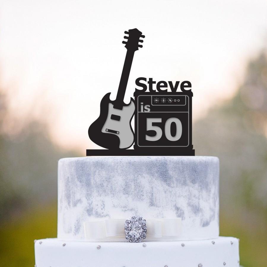 Wedding - Musician birthday guitar cake topper,Guitar birthday cake topper,rockstar 50th birthday cake topper,rock n roll birthday guitar topper,a237