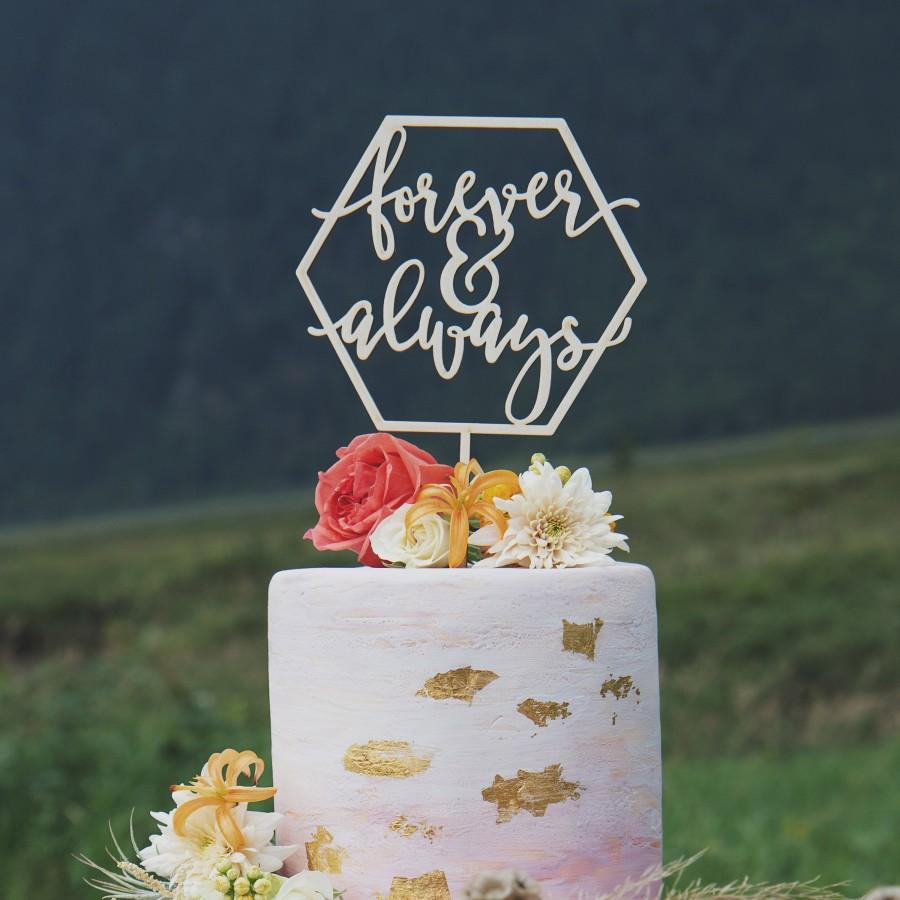 Wedding - Forever and Always Cake Topper, Rustic Wedding Cake Topper, Gold cake topper
