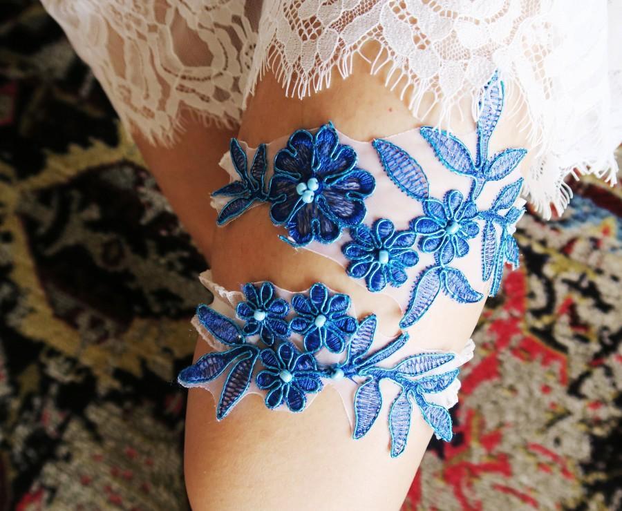 Wedding - Wedding Garters Bridal Garter Set - Electric Blue Garter Lace Garter - Rustic Garter Bohemian Garter - Vintage Lace Garter Royal Blue Garter
