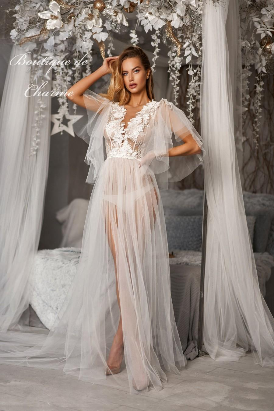 Hochzeit - Long tulle dress, Lace wedding robe, Bridal boudoir,Bride peignoir,Tulle wedding dress,Sheer boudoir robe,Wedding lingerie,White bridal robe