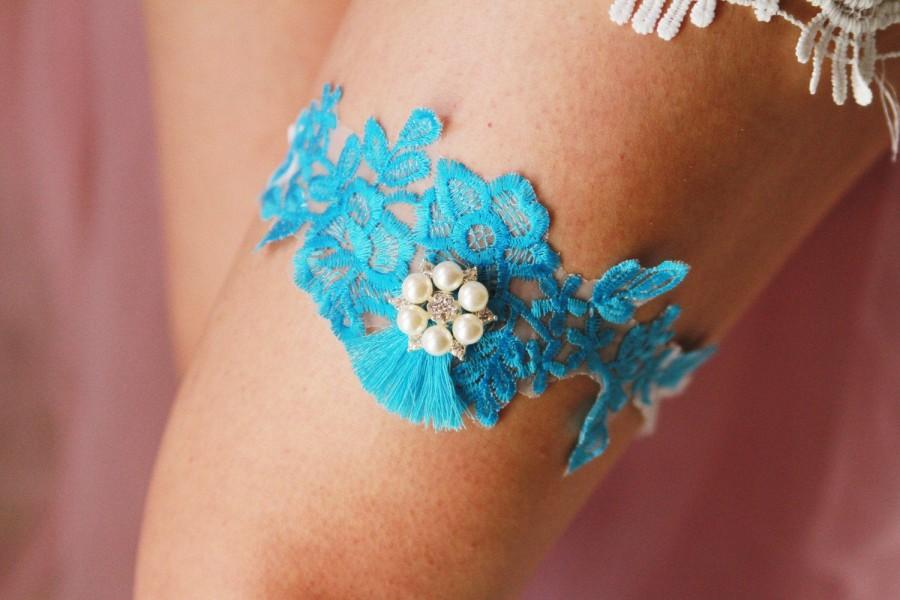 Wedding - Wedding Garter Bridal Garter Belt - SOMETHING BLUE Garter - Toss Garter - Sky Blue Garter - Tassel Garter Vintage Inspired Lace Garter