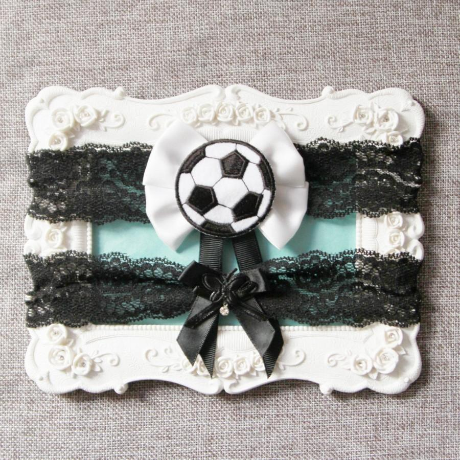 Hochzeit - Wedding Garter Set Bridal Garter Set - Football Garter Set Soccer Garter Set Black White Lace Garters Keepsake Garter Toss Garter Sport