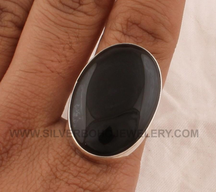 Wedding - Natural Black Onyx Silver Ring - 925 Sterling Solid Silver Ring - Oval Shape Ring - Big Stone Ring - Handmade Jewelry -Silver Ring For Women