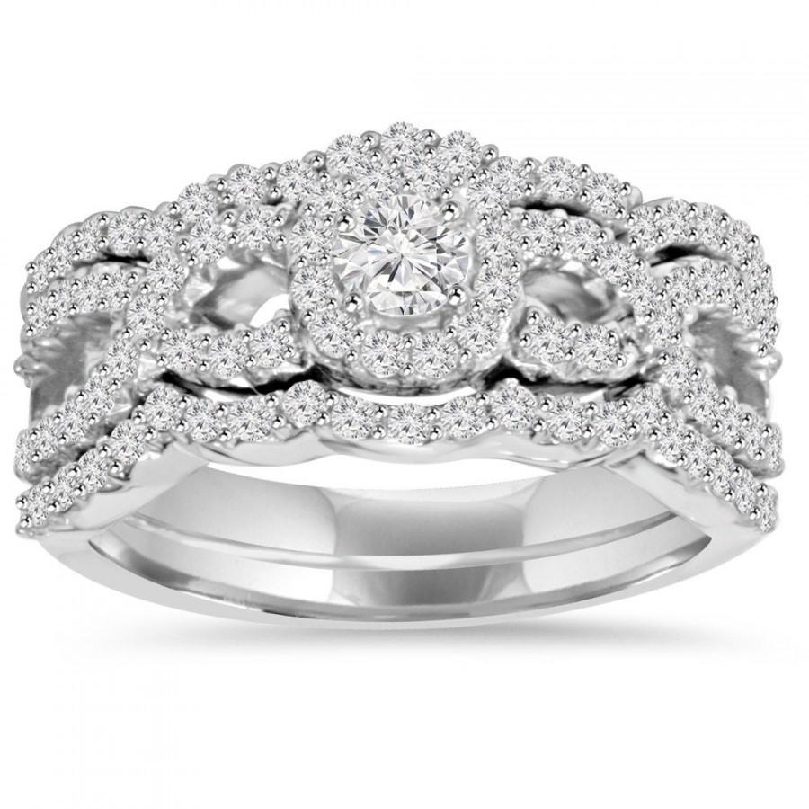 Wedding - Diamond Engagement Ring Set, Matching Guard Wedding Bands 1.10Ct Diamond Bridal Engagement Ring Set 10K White Gold