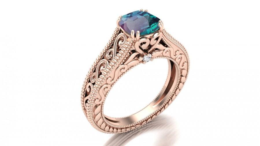 زفاف - 2.02 ct AAA Alexandrite & pave set moissanite in 14k rose gold plated engagement ring vintage art deco unique floral ring for women gift