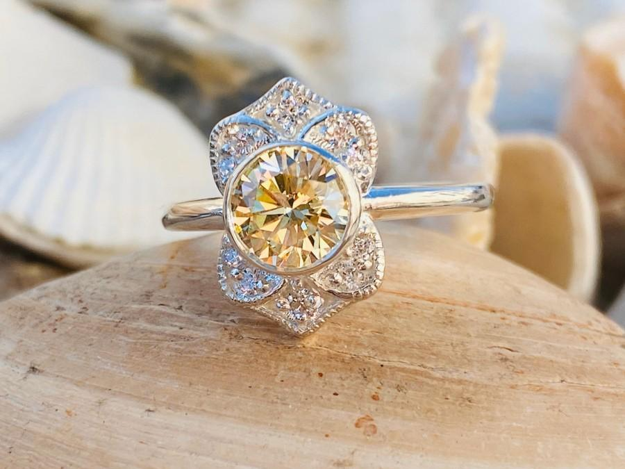 Wedding - Art Deco Canary Yellow Diamond Ring, Yellow Diamond Engagement Ring, Antique Diamond Engagement Ring, Fancy Yellow Diamond Ring, CZ Ring