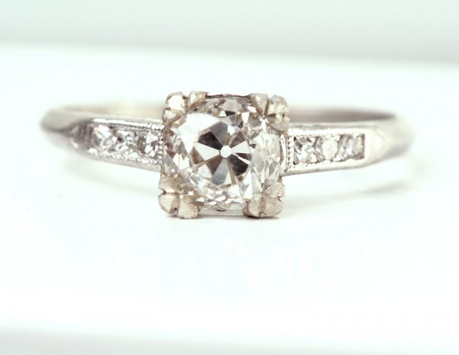 Wedding - Circa 1900 - Edwardian Platinum GIA certified .81ct Old Mine Cushion Brilliant DiamondEngagement Ring - VEG#373