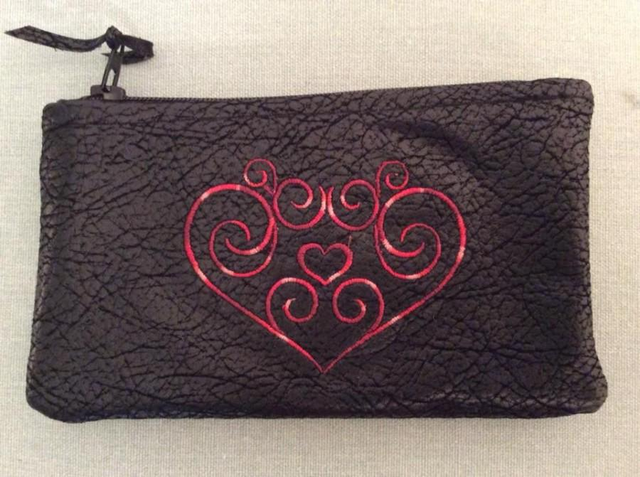 """Mariage - Embroidered HEART Faux Black Leather (Cotton) Coin Bag 6"""" x 3.75"""" Zippered"""