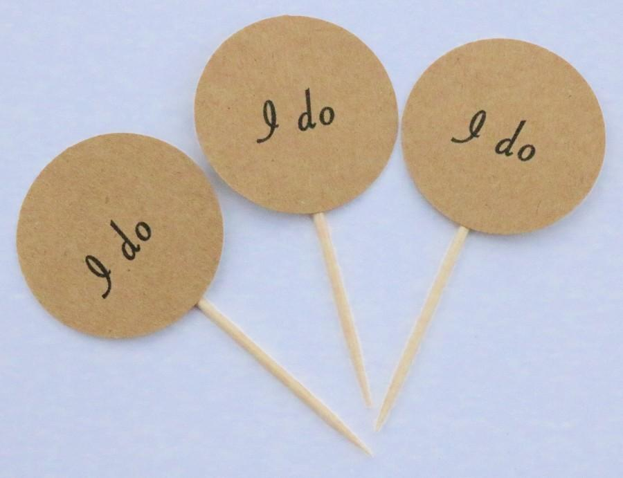 Hochzeit - I do cupcake toppers, rustic wedding cupcake toppers, I do wedding, cupcake toppers, I do wedding toothpicks, I do picks, I do toppers