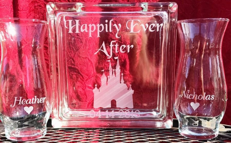 Hochzeit - Personalized -  Glass Block - Sand Ceremony Set - Happily Ever After With Castle - 2 pouring vases Etched Glass Engraved Unity Set  Disney