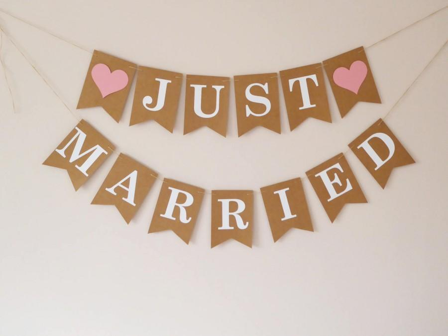 Mariage - Wedding decor Just married bunting banner sign