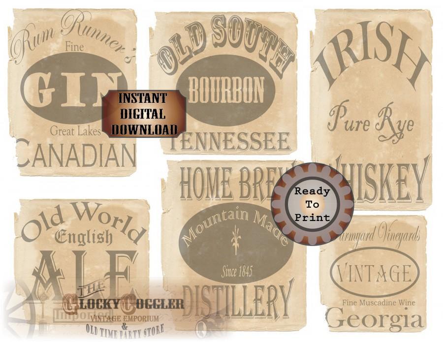 Hochzeit - Booze Bottle Labels 6 Bootleg Printable Prohibition Speakeasy Gatsby Party Roaring 20s Wedding Decor Rye Whiskey Bourbon Gin Ale Home Brew