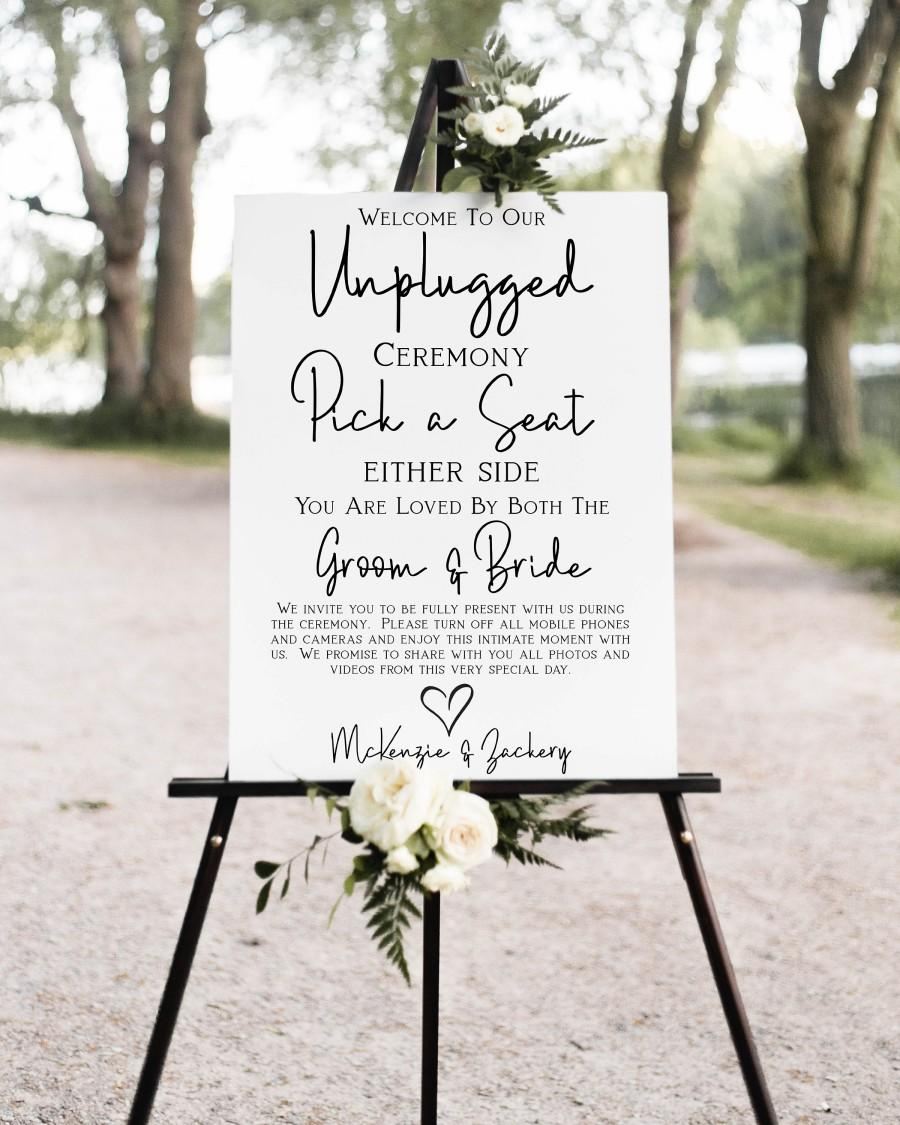 Hochzeit - Unplugged Wedding Ceremony Sign, No Pictures, No Photos Please, Welcome Pick a Seat Sign Template 100% Editable Corjl PPW508