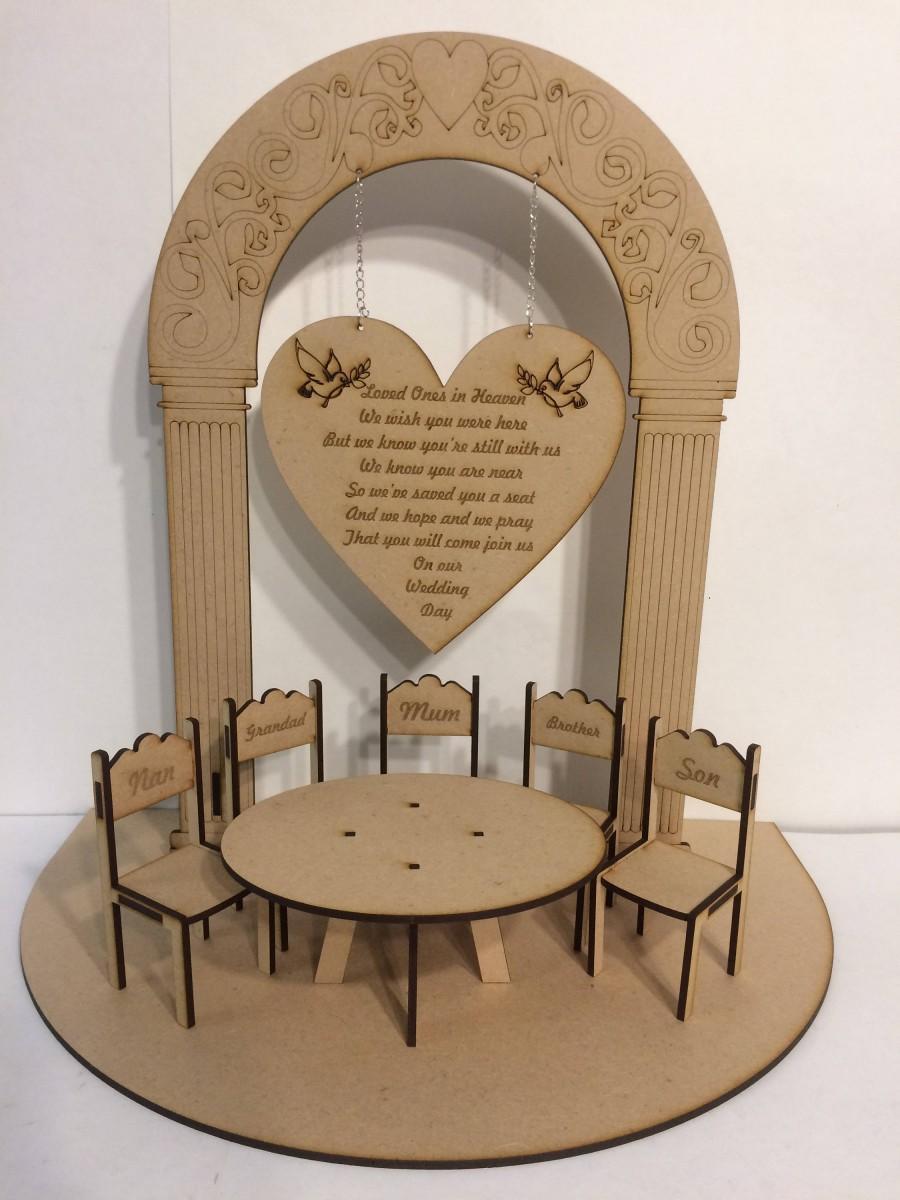 زفاف - Loved Ones in Heaven Wedding Memory Table 3D Centrepiece with Hanging Sign & Personalised Chairs Centre Piece