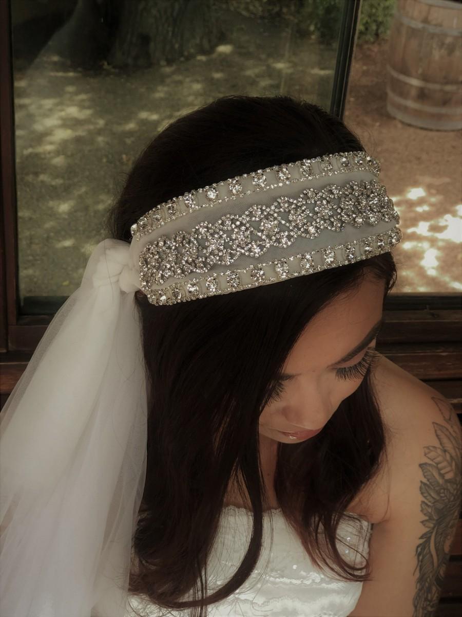 زفاف - Vintage Styled Sparkly Bridal Headband in Ivory. Side Veil. Tons of BLING!