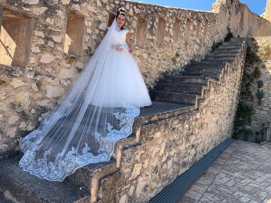 زفاف - Wedding veil sequins appliques, Cathedral Wedding Veil, Bridal Veil Ivory, Wedding Veil Long, Wedding Veil, Silk Tulle Veil, Bridal Veil