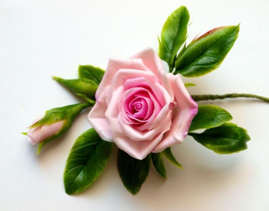 Свадьба - Pale Pink Rose Hair Clip - Flower Hair Barrette, Wedding Floral Hair Clip, Flower Headpiece, Wedding Hair Flower