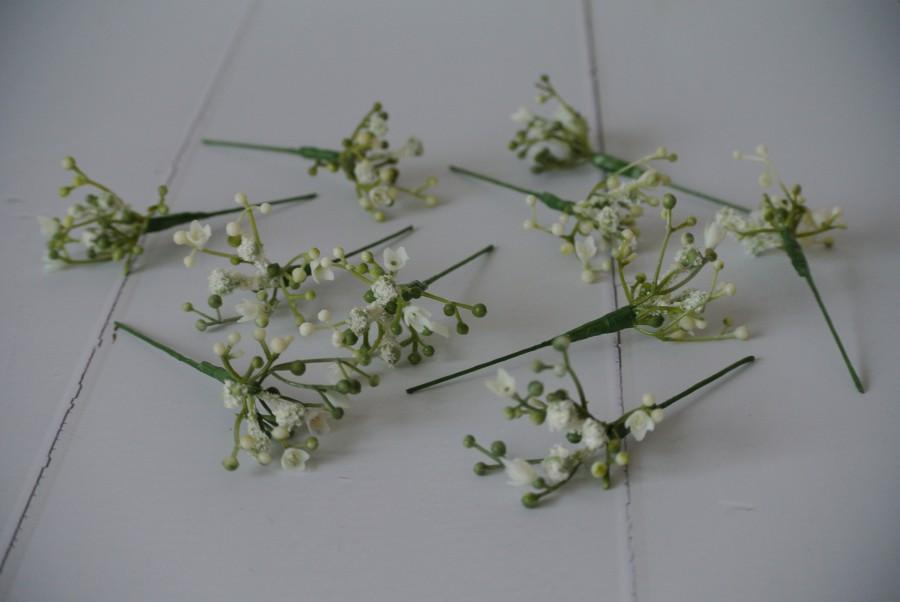 Wedding - A set of 10 Gypsophila hair pins, hair flowers