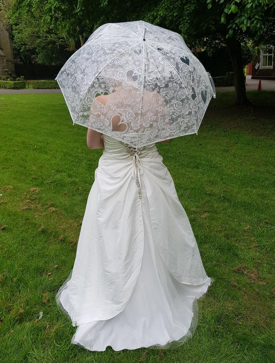 Mariage - Wedding Umbrellas Clear Transparent with Lace Print Heart Roses Wedding in White